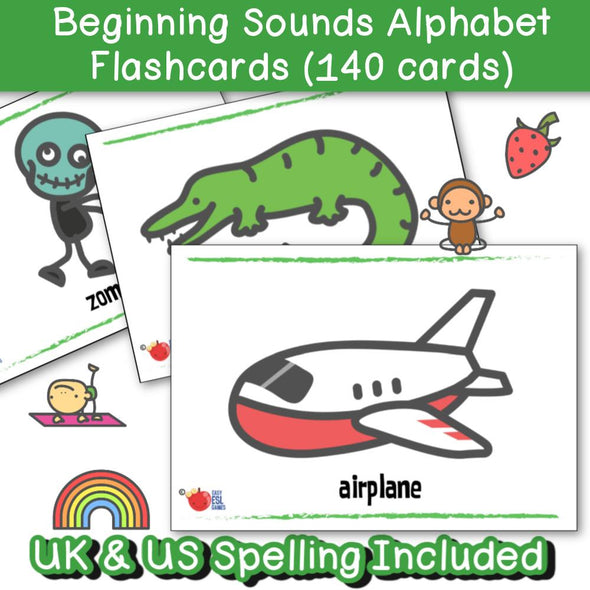 Beginning Sounds Alphabet Flash Cards (140 Flash Cards) - Easy ESL Shop