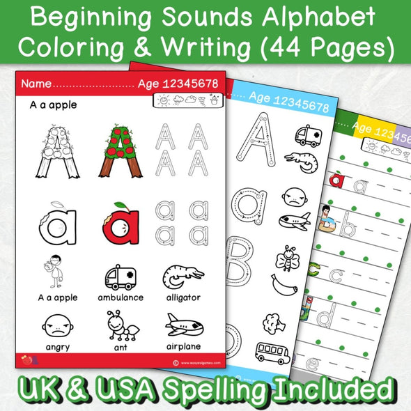 Beginning Sounds Full Colour Alphabet Coloring Pages (44 Pages) - Easy ESL Shop