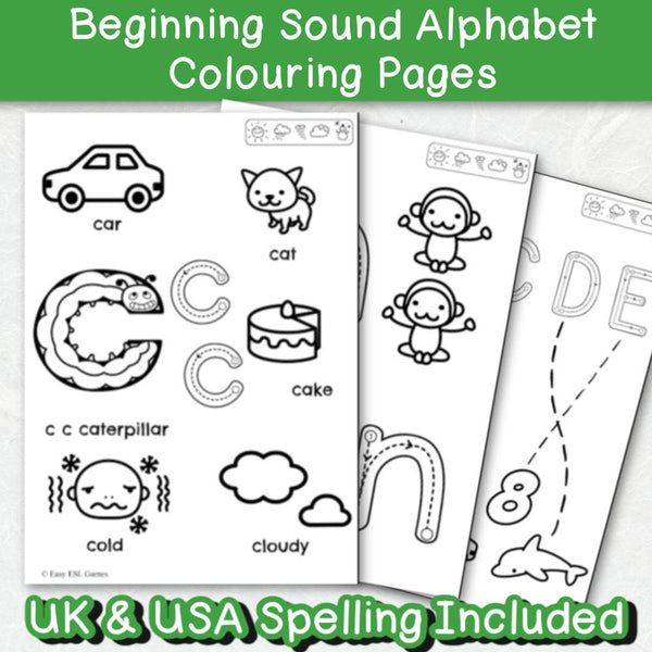 Beginning Sounds Toddler Alphabet Coloring Pages (44 Pages Easier) – Easy  ESL Shop