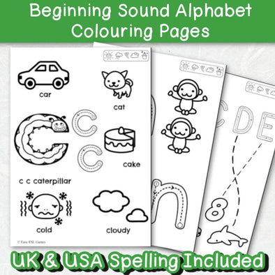 Beginning Sounds Toddler Alphabet Coloring Pages (44 Pages Easier) - Easy ESL Shop