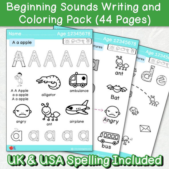 Beginning Sounds Writing and Coloring Pack (44 Pages Blue Header) - Easy ESL Shop