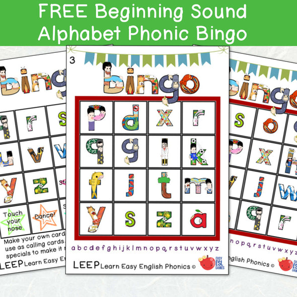 Beginning Sound Lowercase Alphabet Phonic Bingo - 12 Cards & Call Sheet (FREE)