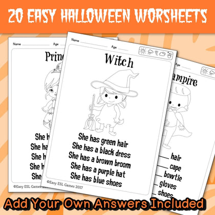 Halloween Coloring Worksheets (20 Pages) – Easy ESL Shop