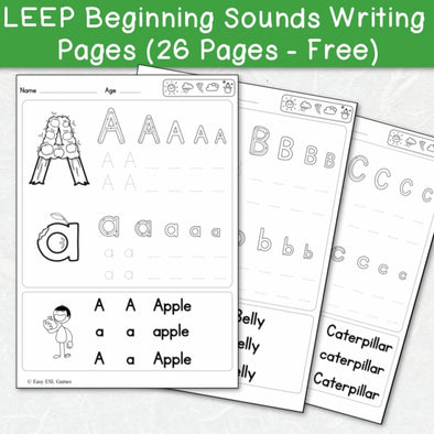 LEEP Beginning Sounds Writing Pages (26 Pages - Free) - Easy ESL Shop