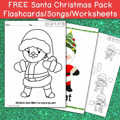 Santa Christmas Pack (Flash Cards, Songs, Activity Sheets - Free) - Easy ESL Shop