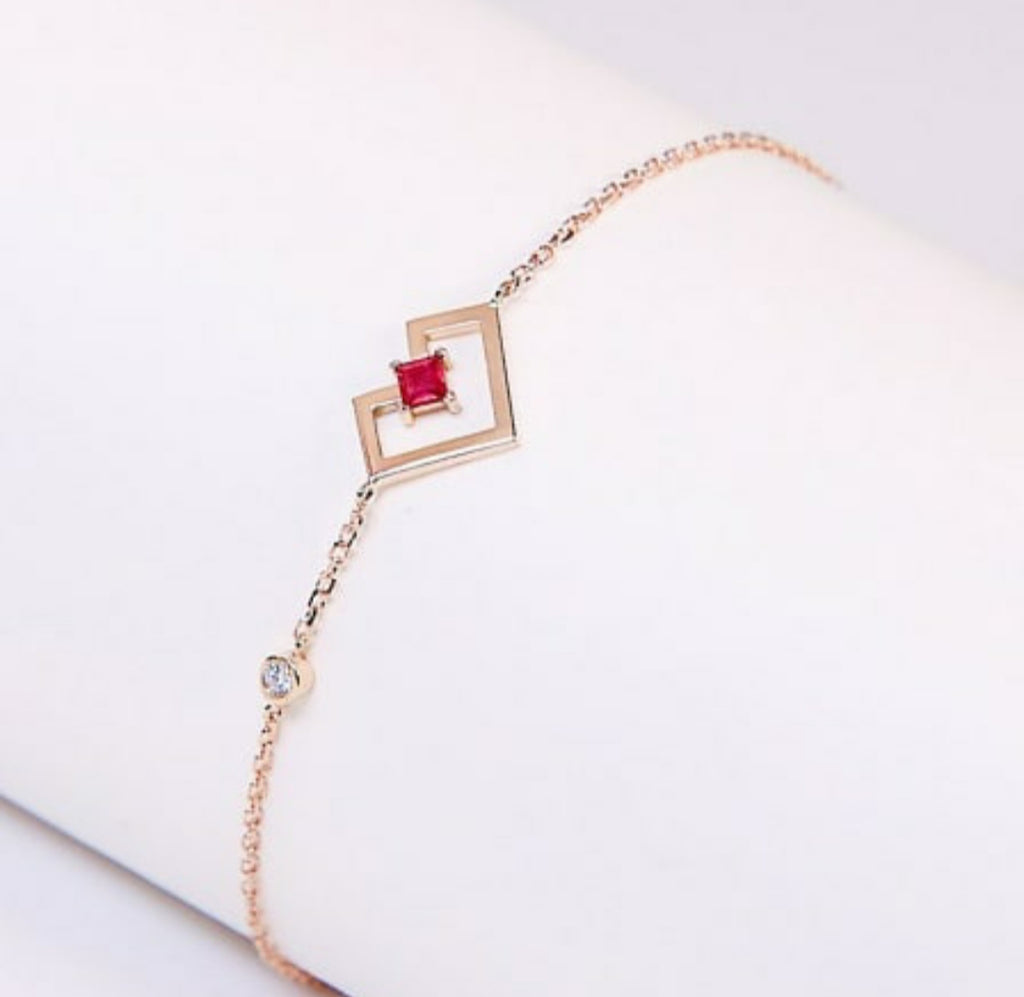 Heart of Gold Bracelet -Rose Gold- Ruby