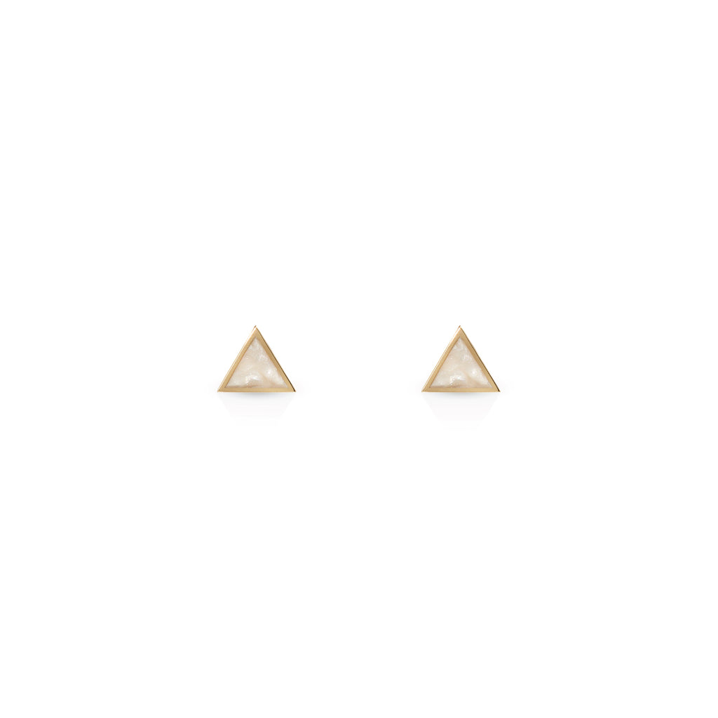 A pair of Triangles Earrings - Mother Of Pearl Enamel