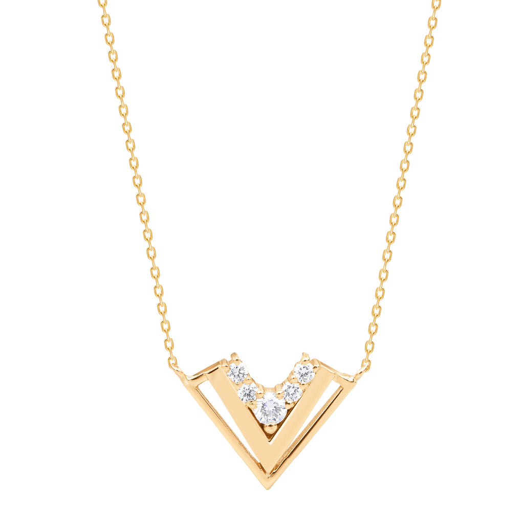 (V) Shape Necklace Gold And Diamonds.