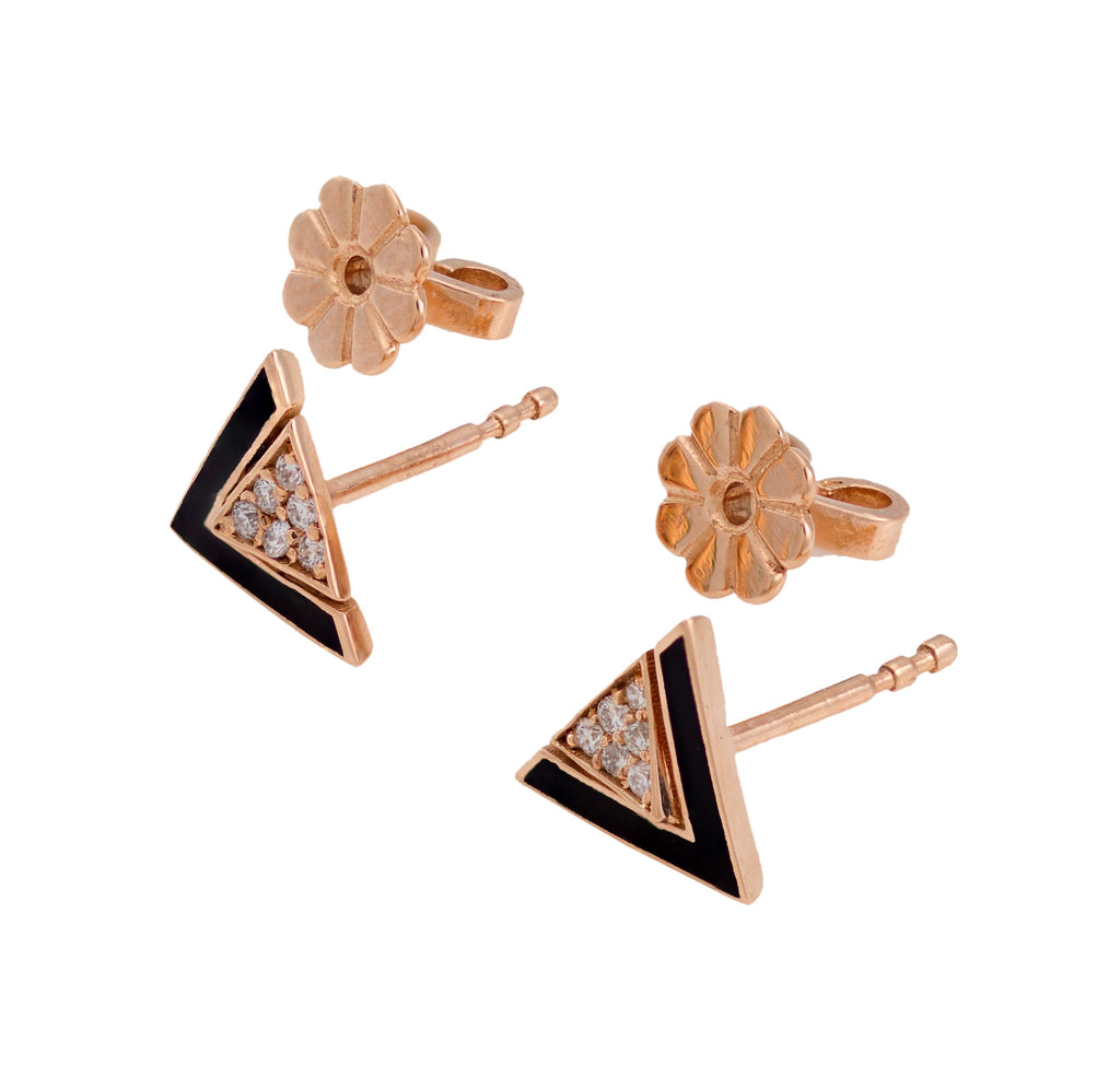 Imtinan Earrings, Black Enamel with Diamonds