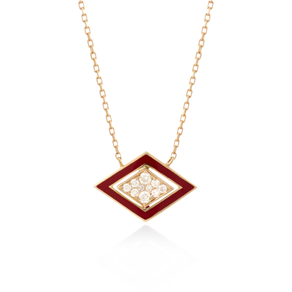 Imtinan Necklace, Red Enamel with Diamonds
