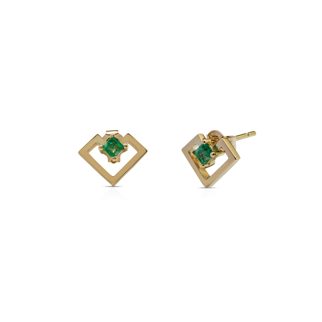 Heart Of Gold Earring - Emerald