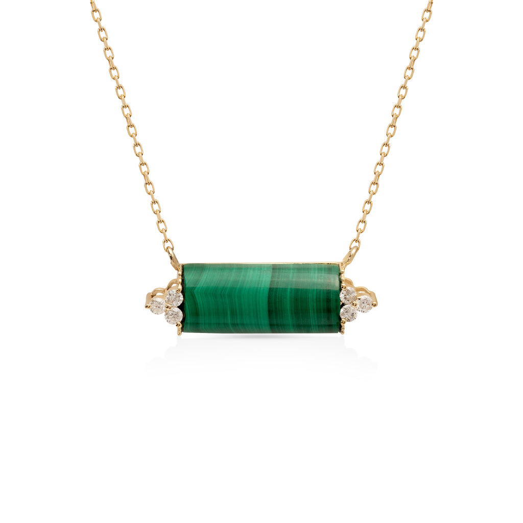Malachite Necklace with Diamonds Stone