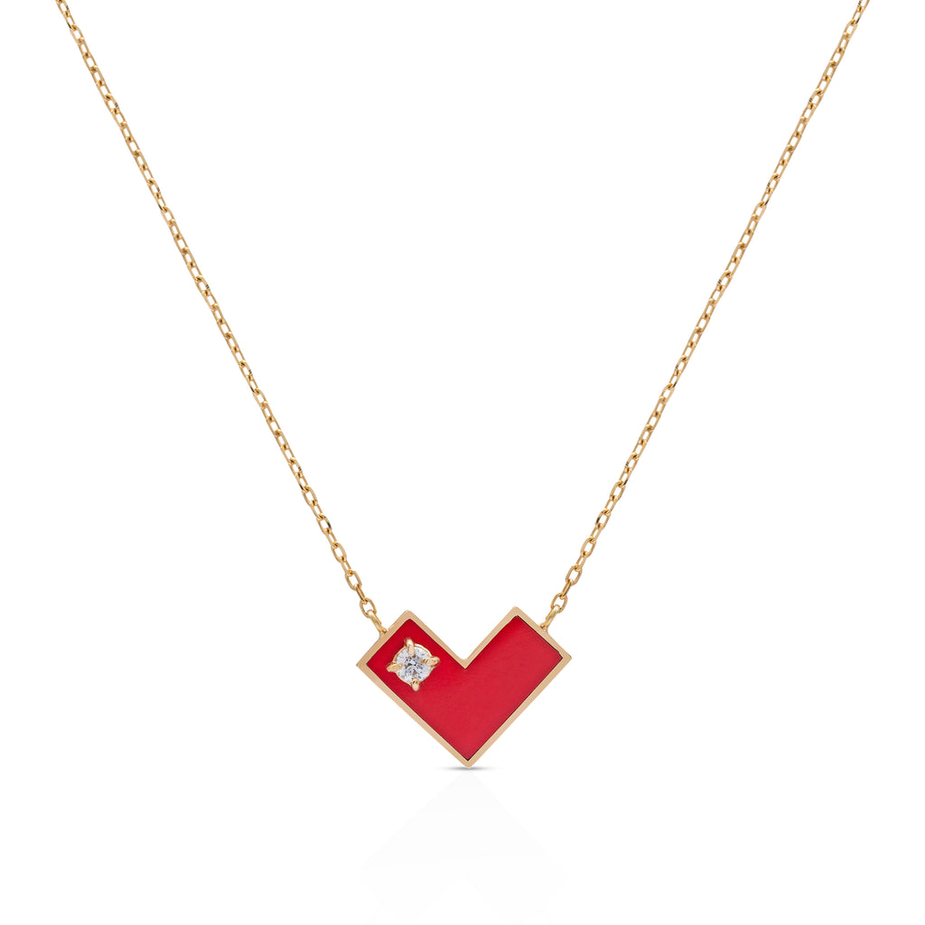 Heart Of Gold Necklace With  Red Enamel & Diamond.