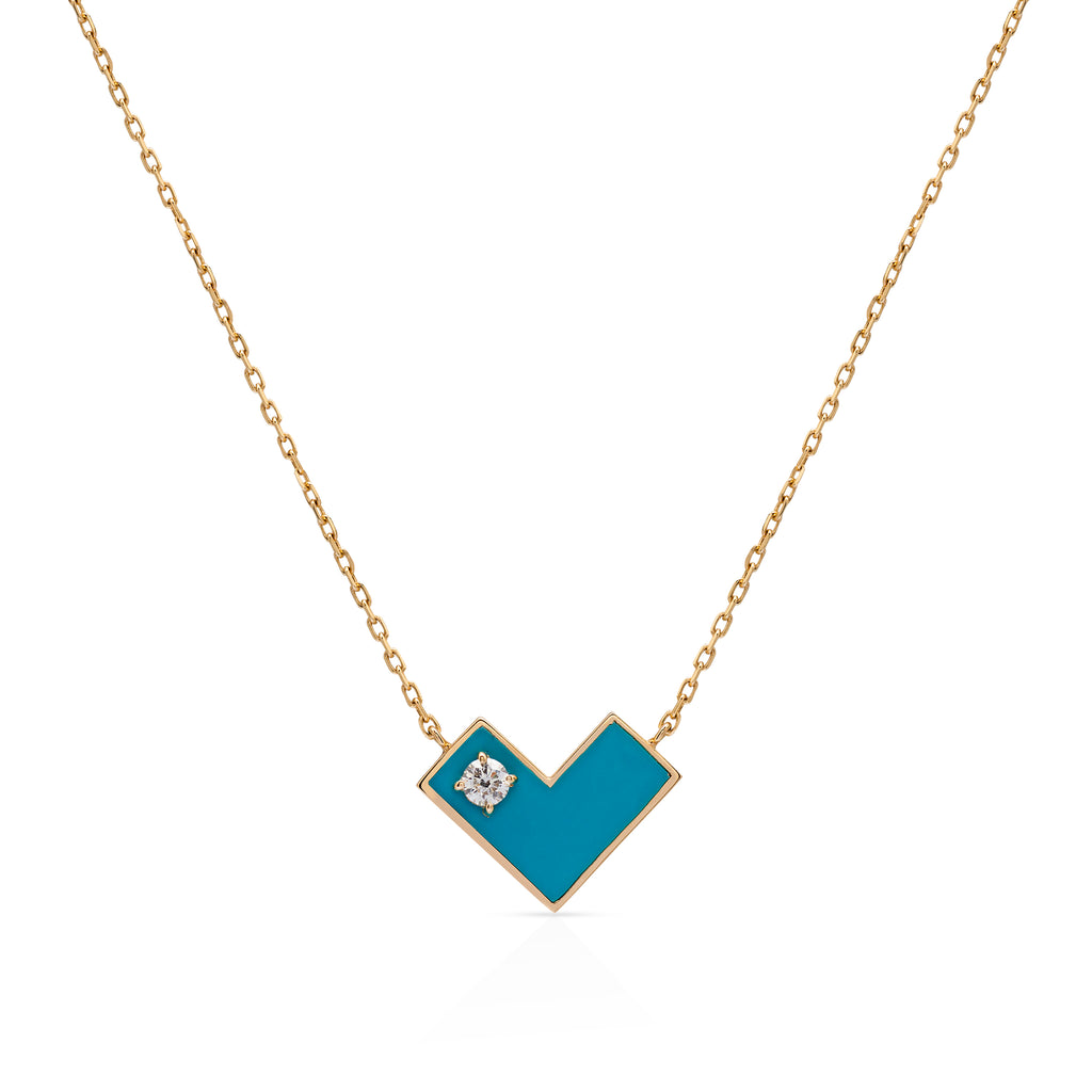 Heart Of Gold Necklace With Blue Enamel & Diamond.
