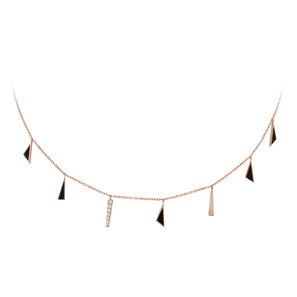Geometric Choker Gold And Diamonds - Triangles