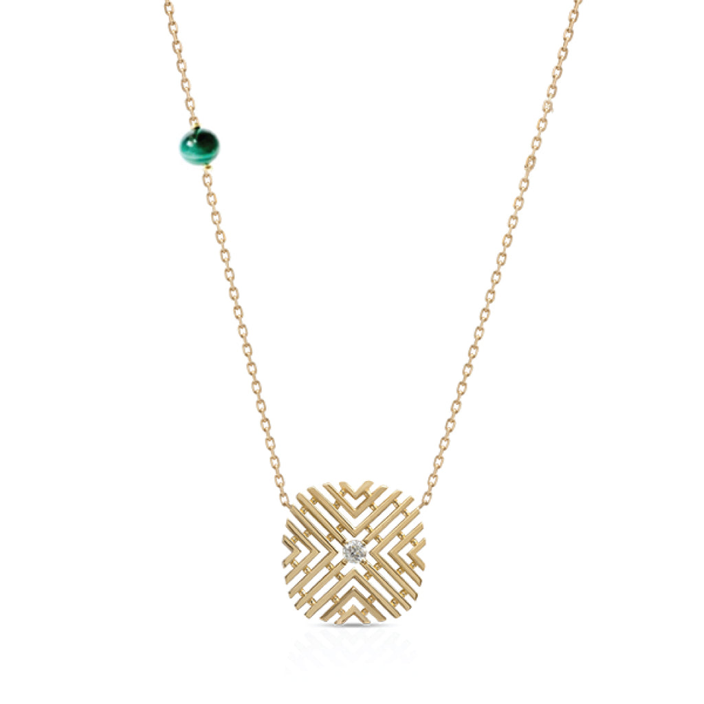 Passion Necklace with Diamond Stone & Malachite