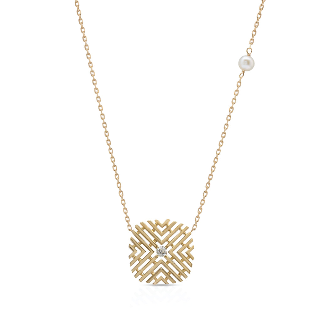 Passion Necklace with Diamond Stone & Pearl