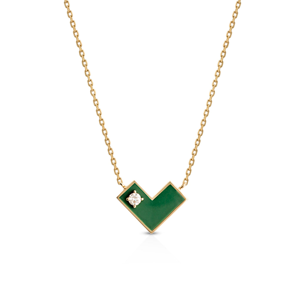 Heart Of Gold Necklace With Green Enamel & Diamond.