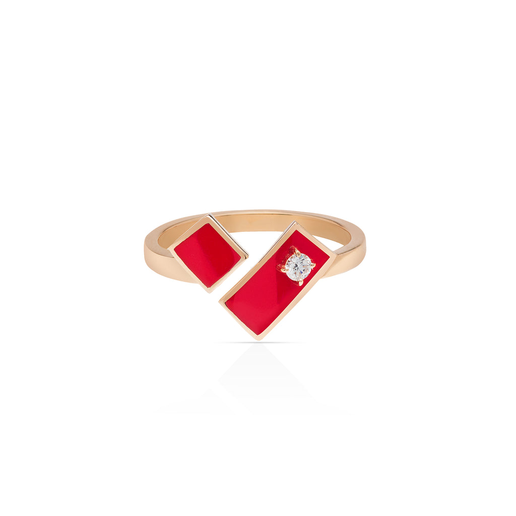 Heart of Gold Enamel Ring - Red