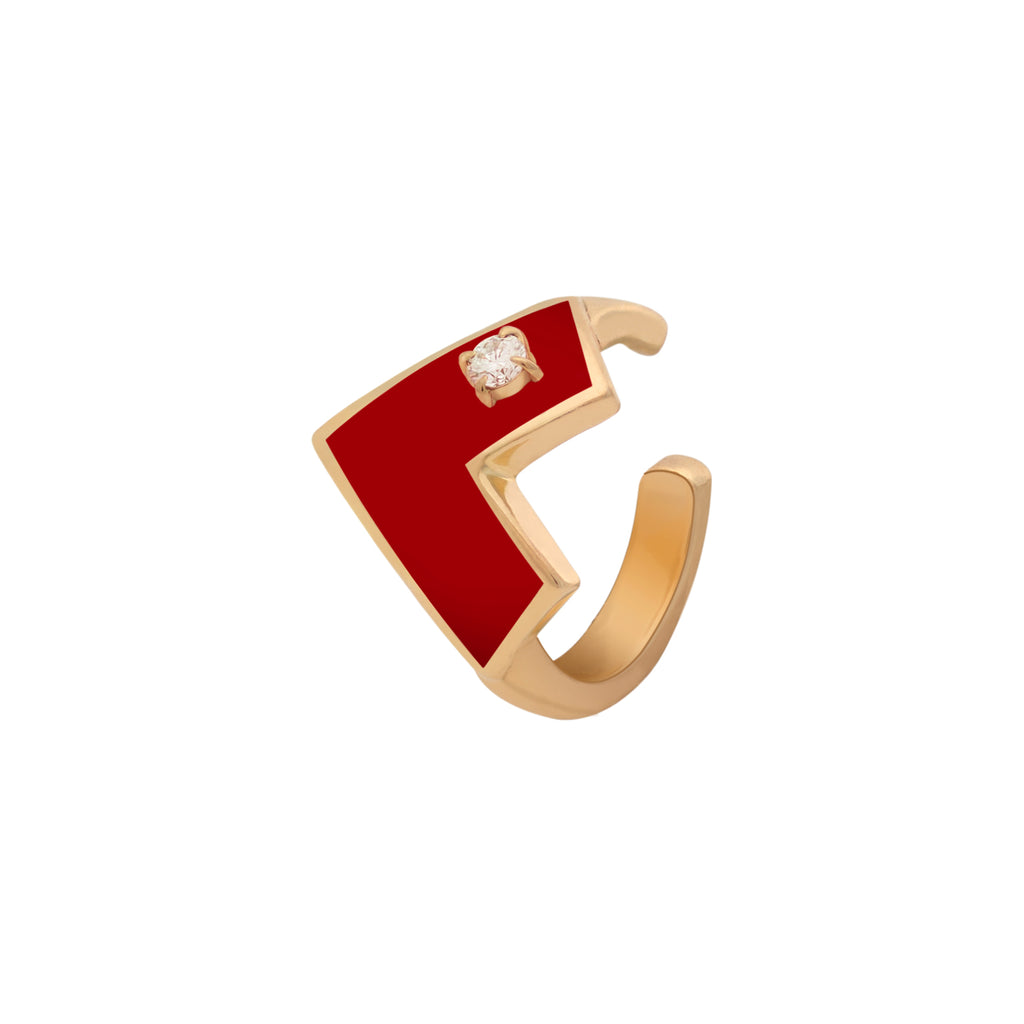 Heart Of Gold Enamel Cuff Earring - Red
