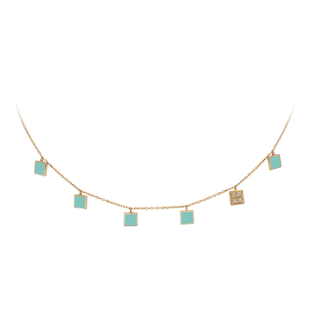 Geometric Choker with Diamonds - Tiffany Squares