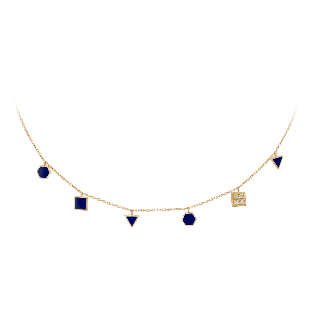 Geometric Choker with Diamonds - Royal Blue