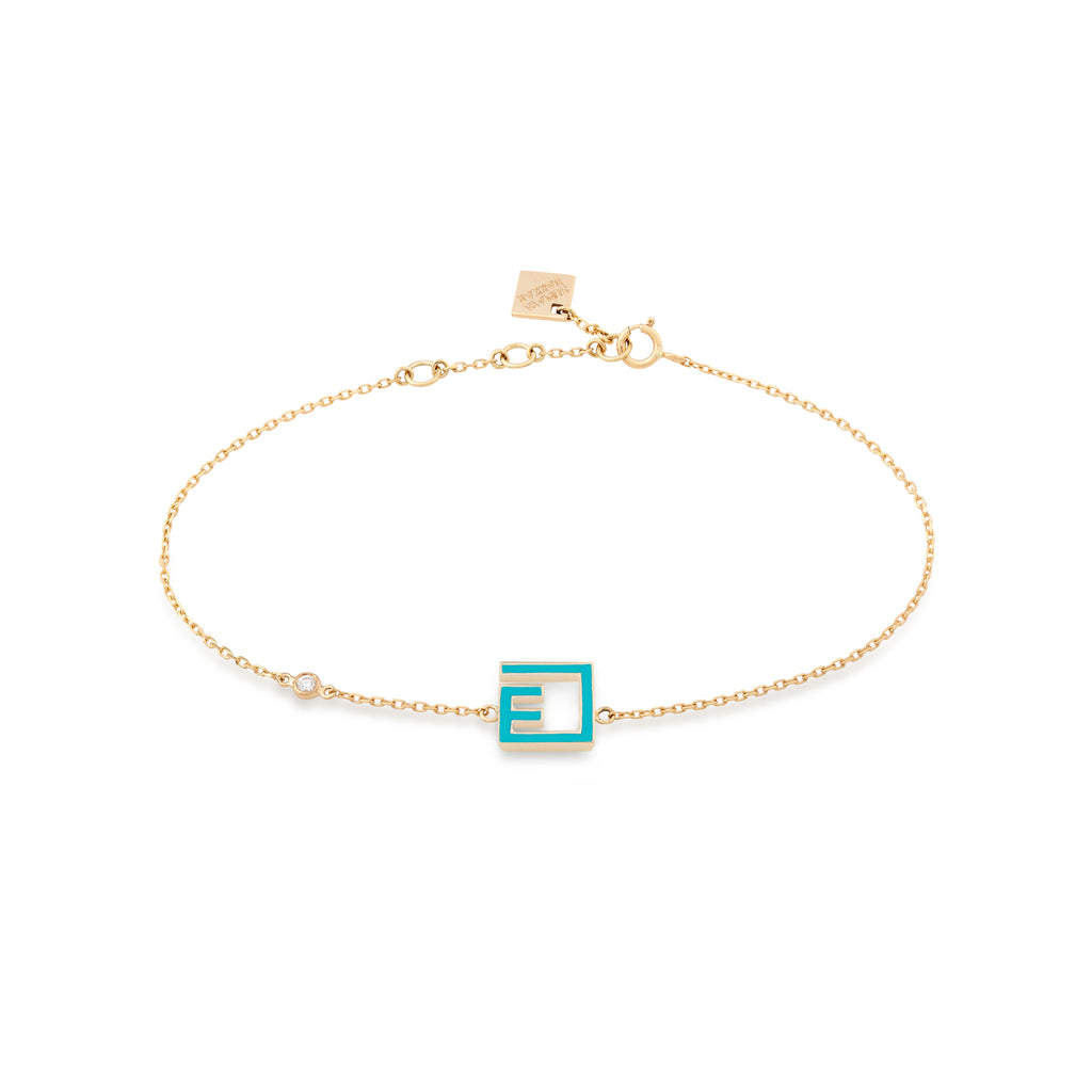 Letter Bracelet Gold and Enamel with diamonds (ع)