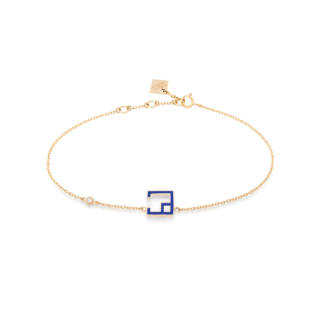 Letter Bracelet Gold and Enamel with diamonds (هاء)