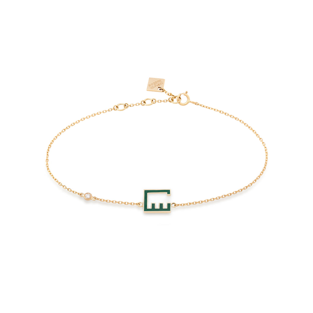 Letter Bracelet Gold and Enamel with diamonds (س)