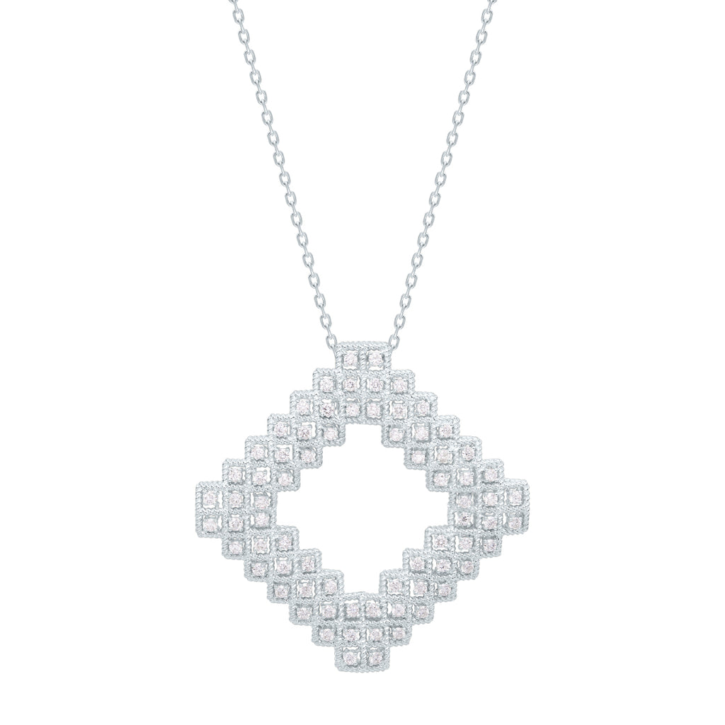 Twist Necklace with Diamonds, White Gold