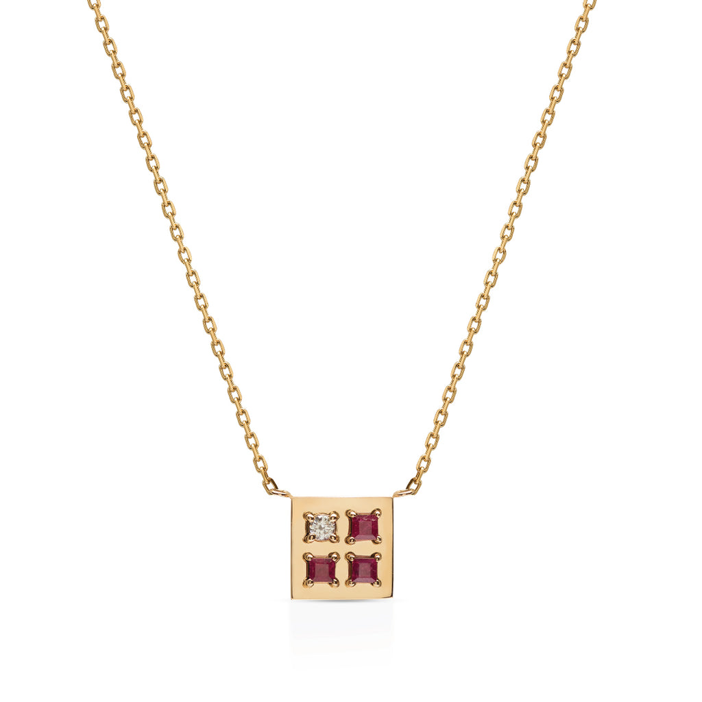 Be different Square Ruby Necklace - Square shape