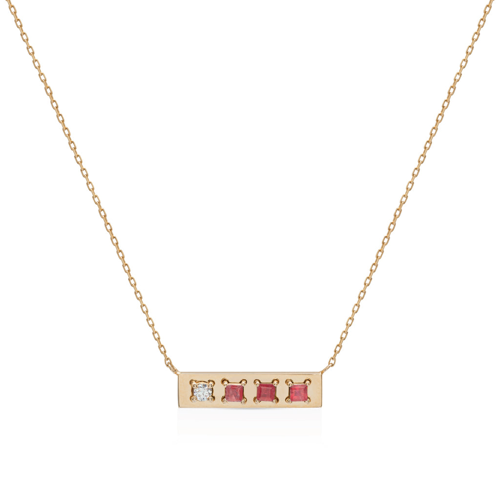 Be different gold with Ruby and diamond Necklace
