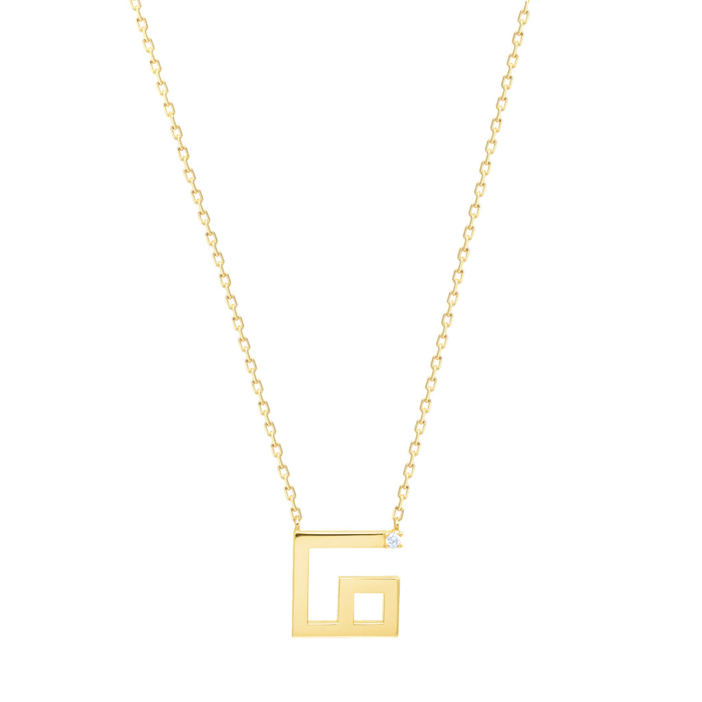 Arabic Alphabet Letter Necklace (ف), Yellow Gold
