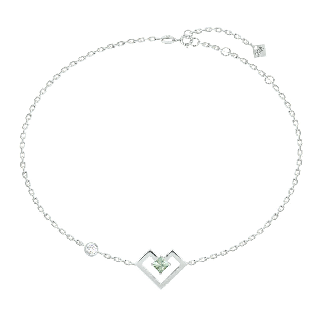 Heart of Gold Bracelet, Light Green, White Gold