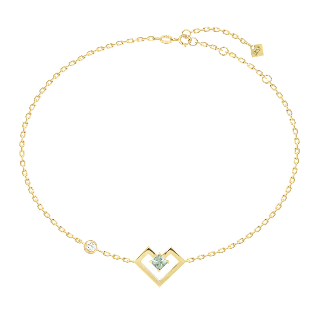 Heart of Gold Bracelet, Light Green, Yellow Gold