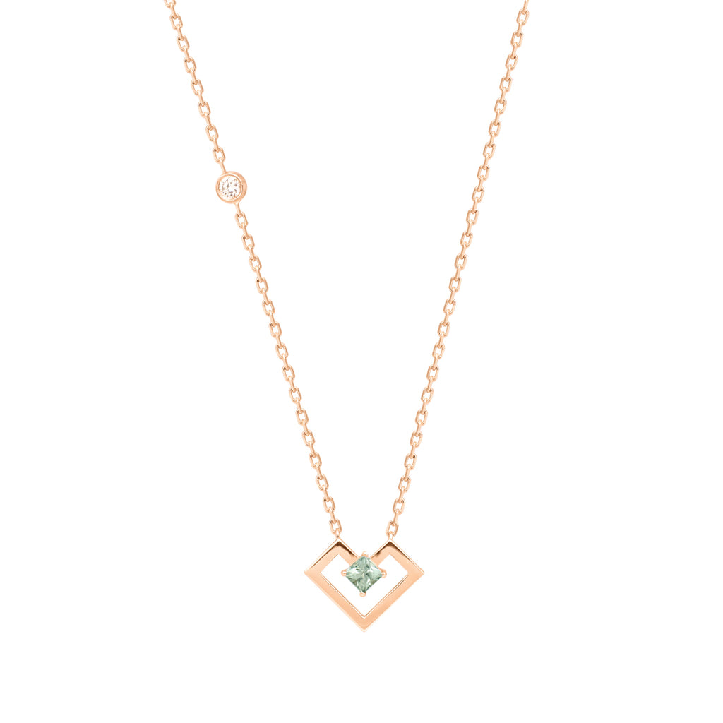 Heart Of Gold Necklace, Light Green, Rose Gold