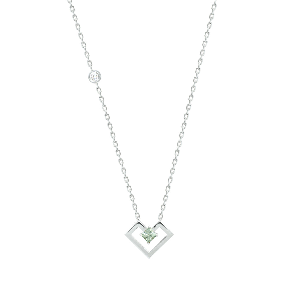 Heart Of Gold Necklace, Light Green, White Gold