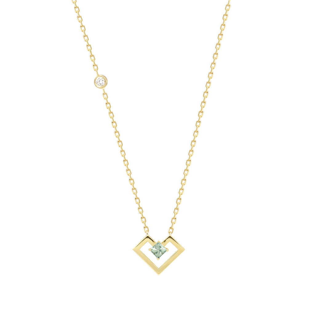 Heart Of Gold Necklace, Light Green, Yellow Gold