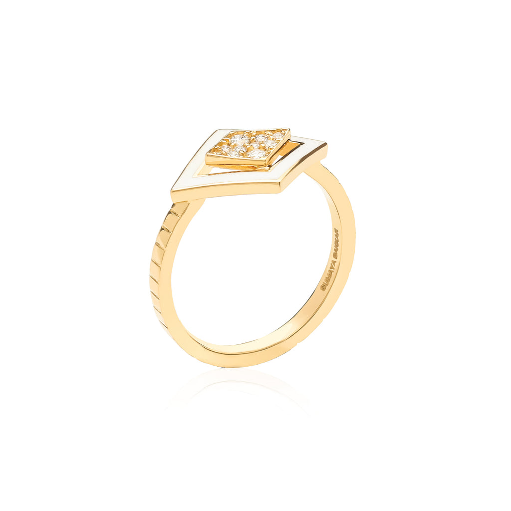 Imtinan Ring gold and diamonds With Enamel.