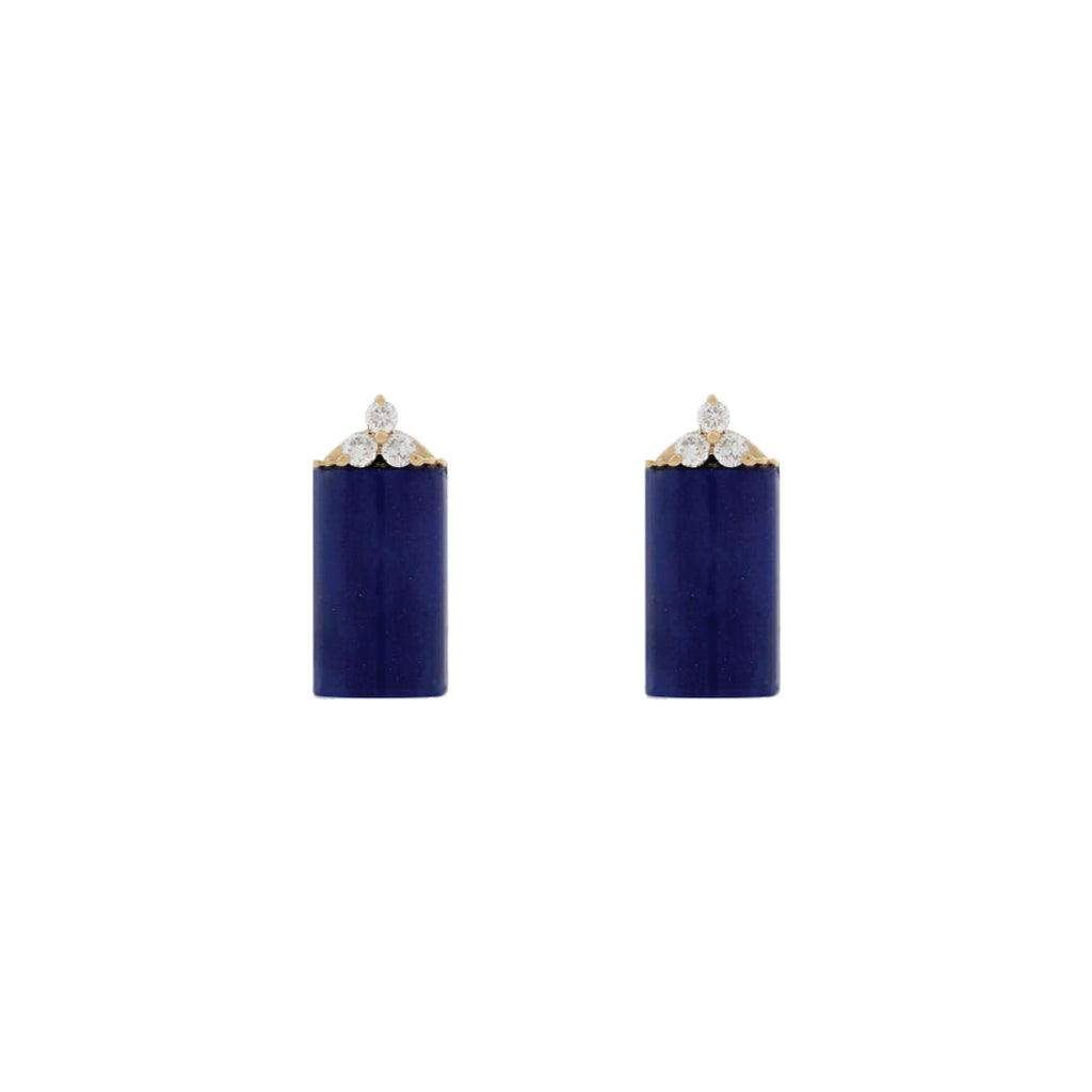 Blue Lapis Earring with Diamonds Stone