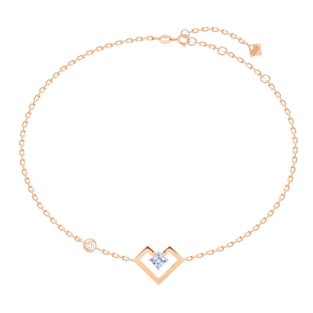 Heart of Gold Bracelet, Light Blue, Rose Gold