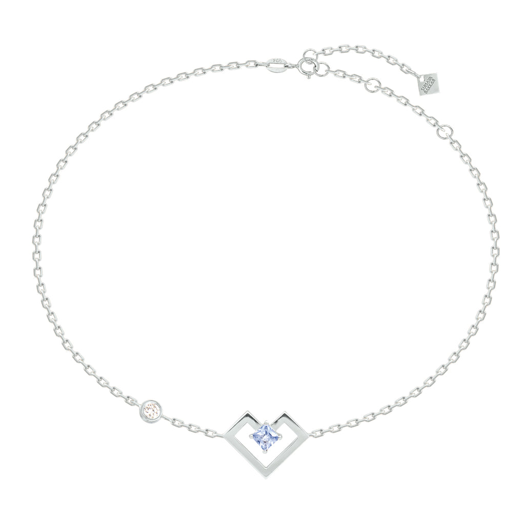 Heart of Gold Bracelet, Light Blue, White Gold