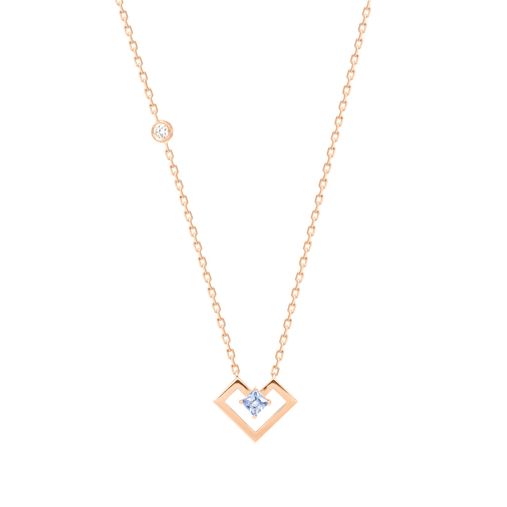 Heart Of Gold Necklace, Light Blue, Rose Gold