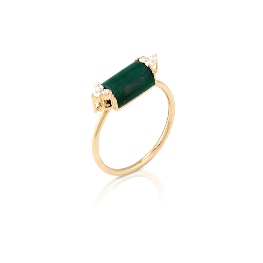 Malachite Ring with Diamonds Stone