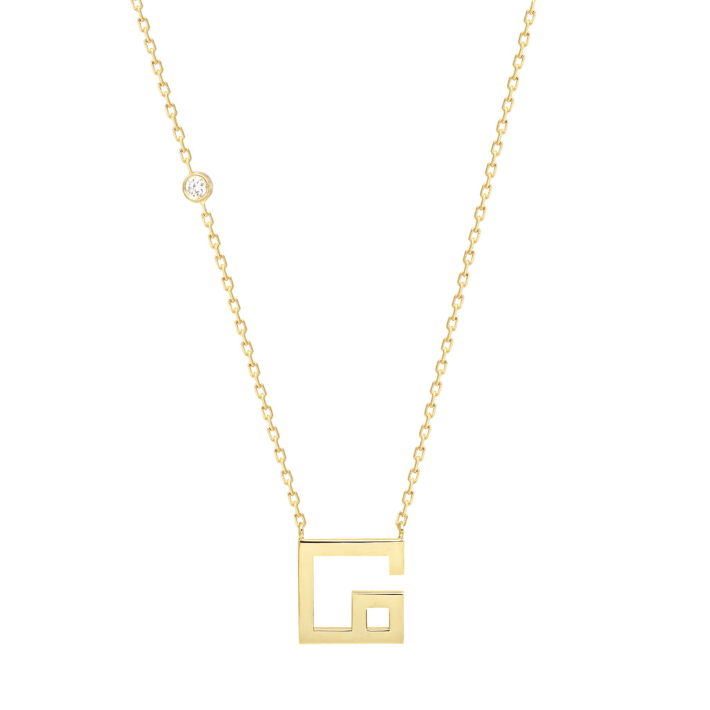 Arabic Alphabet Letter Necklace (م), Yellow Gold