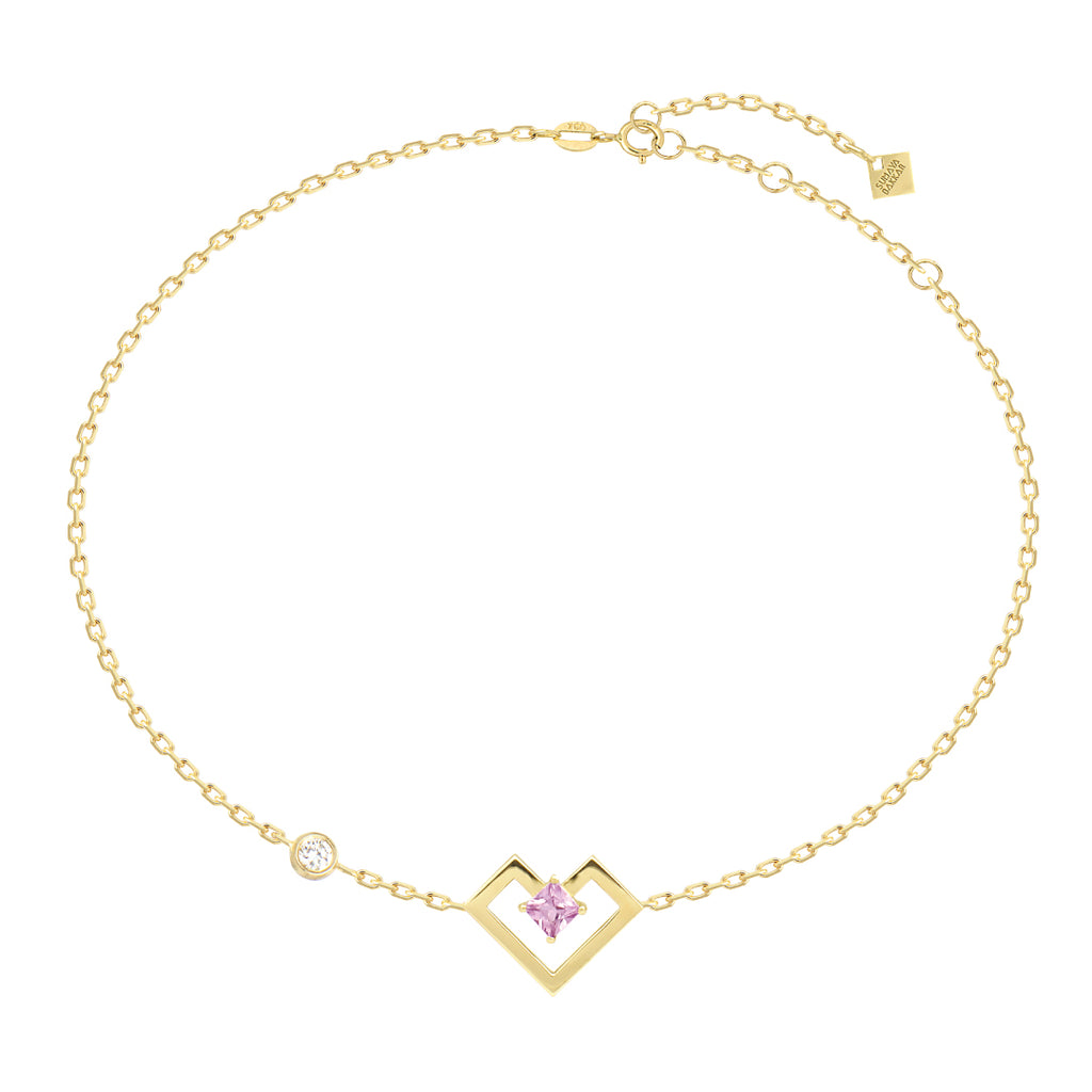 Heart of Gold Bracelet, Pink, Yellow Gold