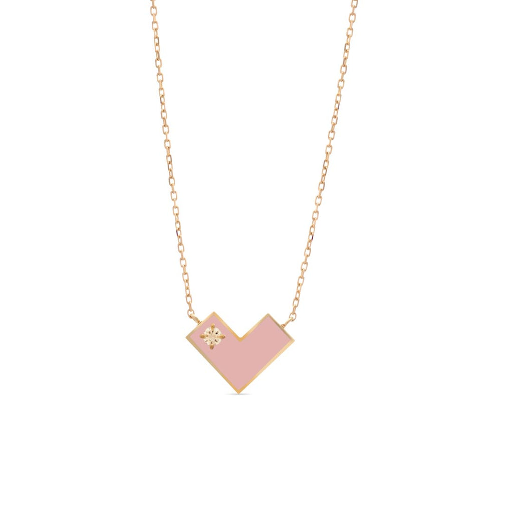 Heart Of Gold Necklace With Pink Enamel & Diamond