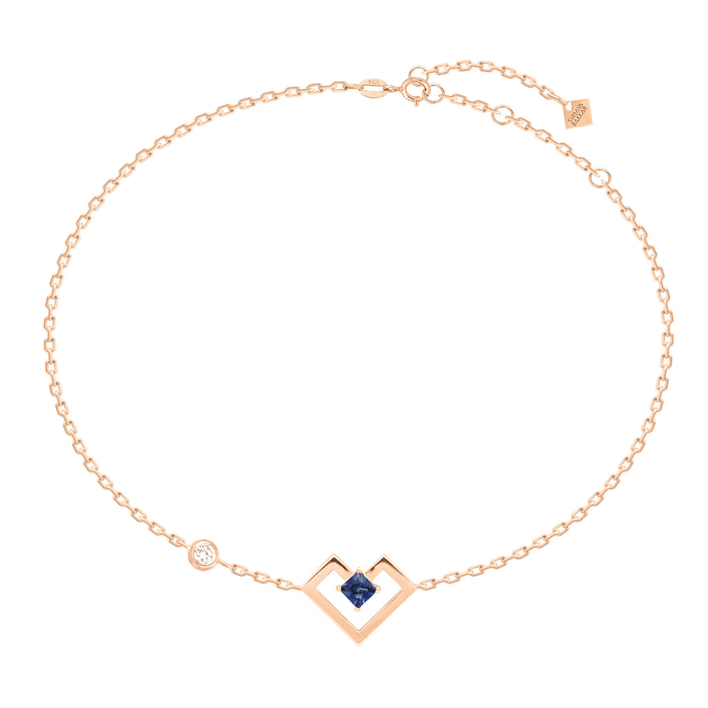 Heart of Gold Bracelet, Sapphire, Rose Gold