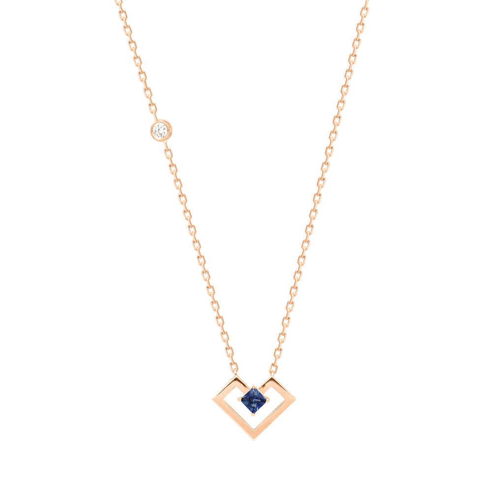 Heart Of Gold Necklace, Sapphire, Rose Gold