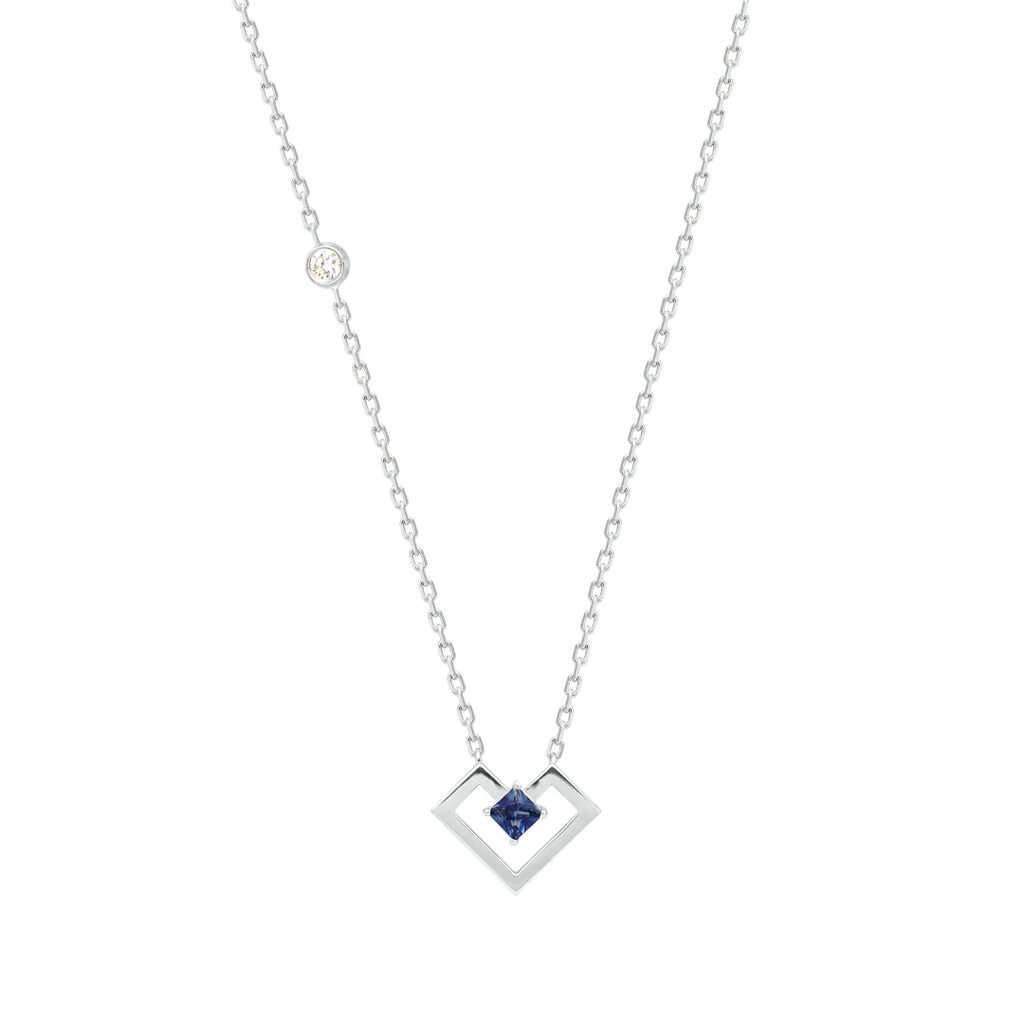Heart Of Gold Necklace, Sapphire, White Gold